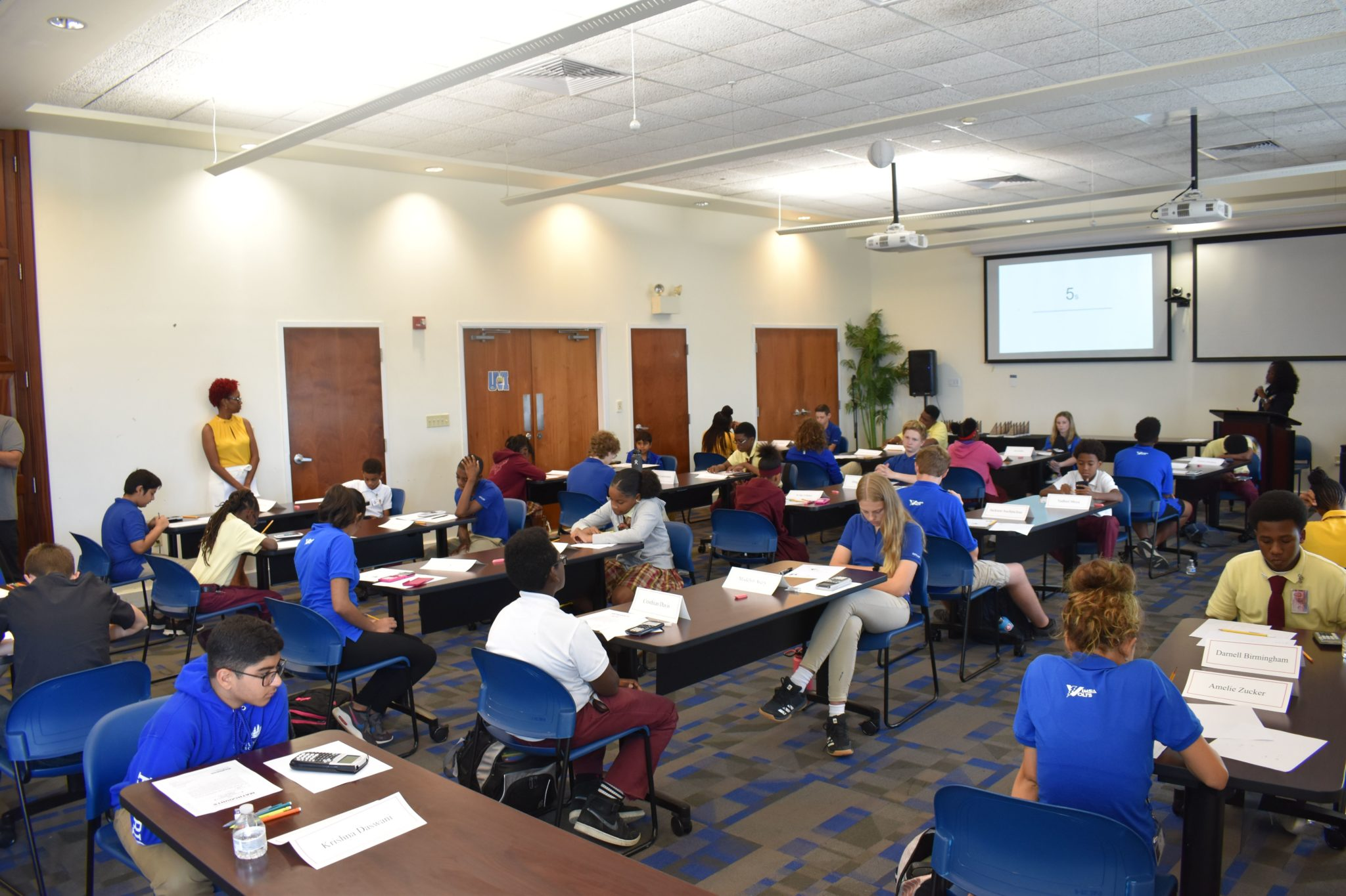 The UVI Sports and Fitness Center was packed with students Thursday for the annual St. Thomas-St. John District MATHCOUNTS competition.