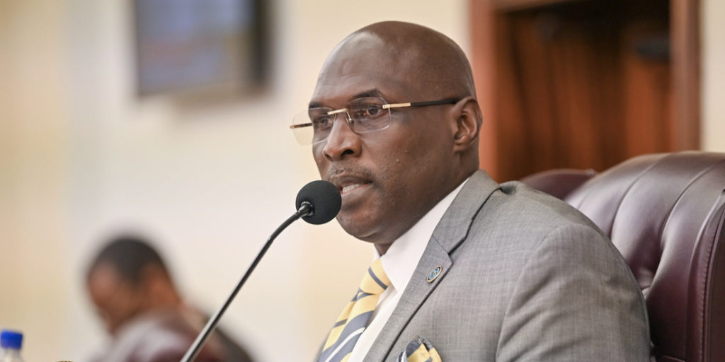 """Committee of the Whole Chairman Sen. Novelle Francis Jr. asks for an open and honest conversation with WAPA during Friday's hearing. (""""Photos by Chaunte Herbert,Legislature of the Virgin Islands.)"""