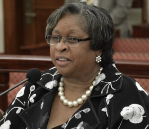 Shelby King Gaddy, executive director or Legal Services, testifies at Senate. (Photo by Barry Leerdam, Legislature of the Virgin Island)