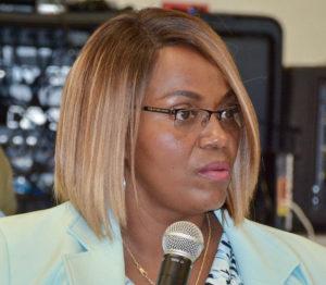 Bureau of Corrections Director Wynnie Testamark defends her agency's budget at Tuesday's hearing. (V.I. Legislature Photo)