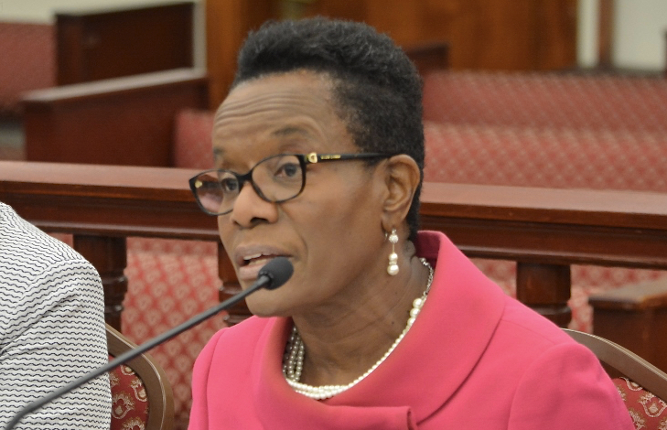 Director of Banking and Insurance Gwendolyn Hall Brady at Monday's Finance Committee hearing (Photo by Barry Leerdam, V.I. Legislature)